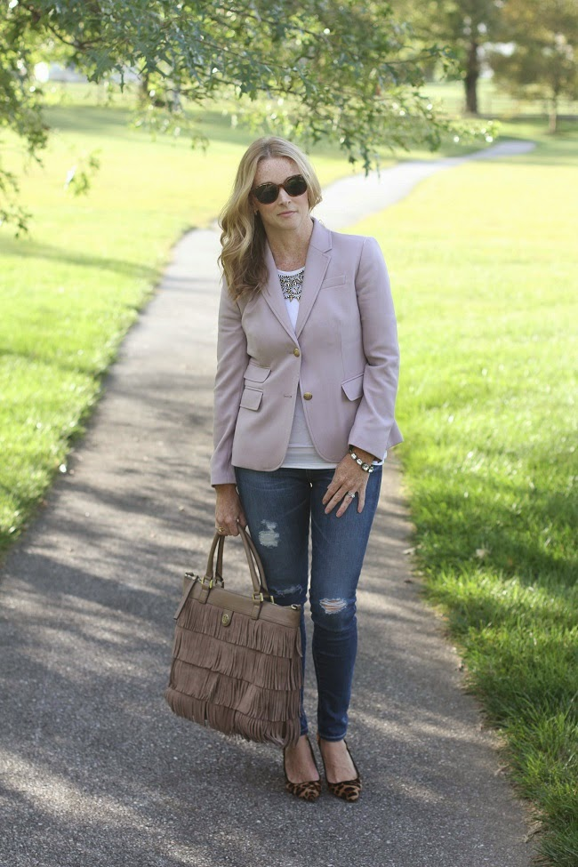 jcrew blazer, AG distressed jeans, jcrew leopard heels, tory burch fringe bag