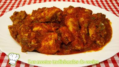 pollo con tomate y pimiento