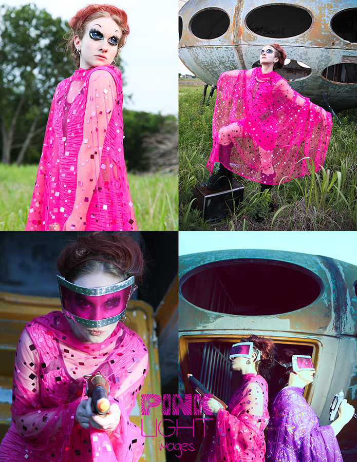 Star Trek TOS inspirations with a ship and pink dress and overlay and visors