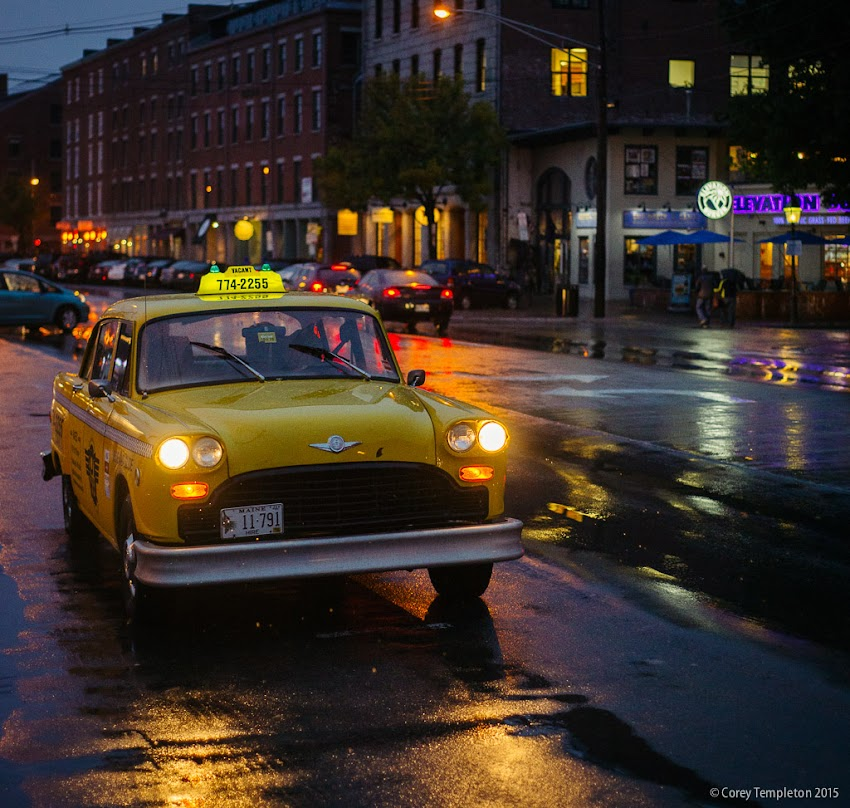 Portland, Maine USA October 2015 Photo by Corey Templeton. An old-timey taxi waiting for a fare on Commercial Street