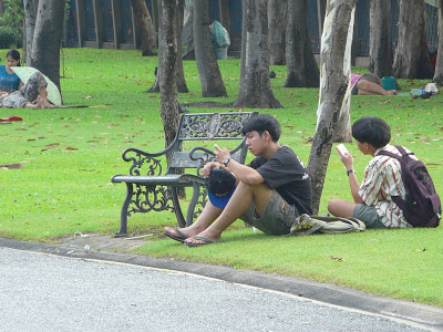 Two boys having a rest in Chatuchak park