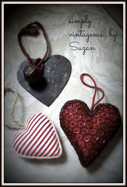 heart, ornaments, red, striped, metal,