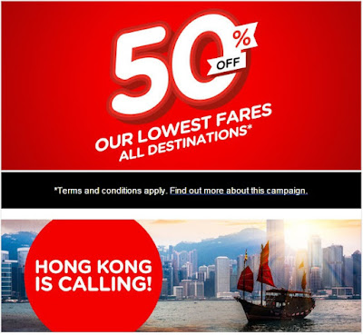 Air Asia Airlines: 50% OFF Our Lowest Fares - All Destinations*