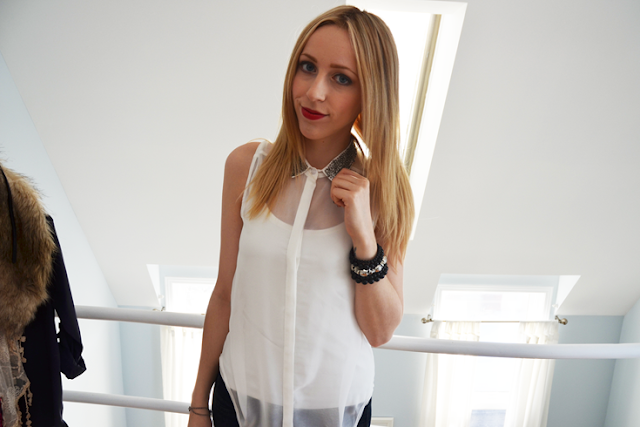 cute jeggings sheer white top studded collar new year&#39;s eve