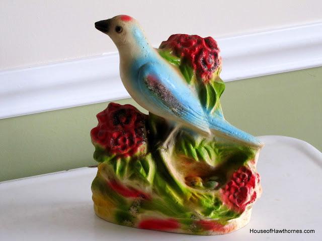 Vintage carnival chalkware bird