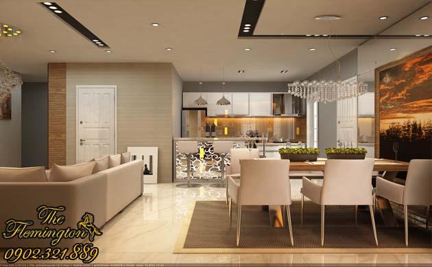 Phòng khách lớn căn hộ flemington