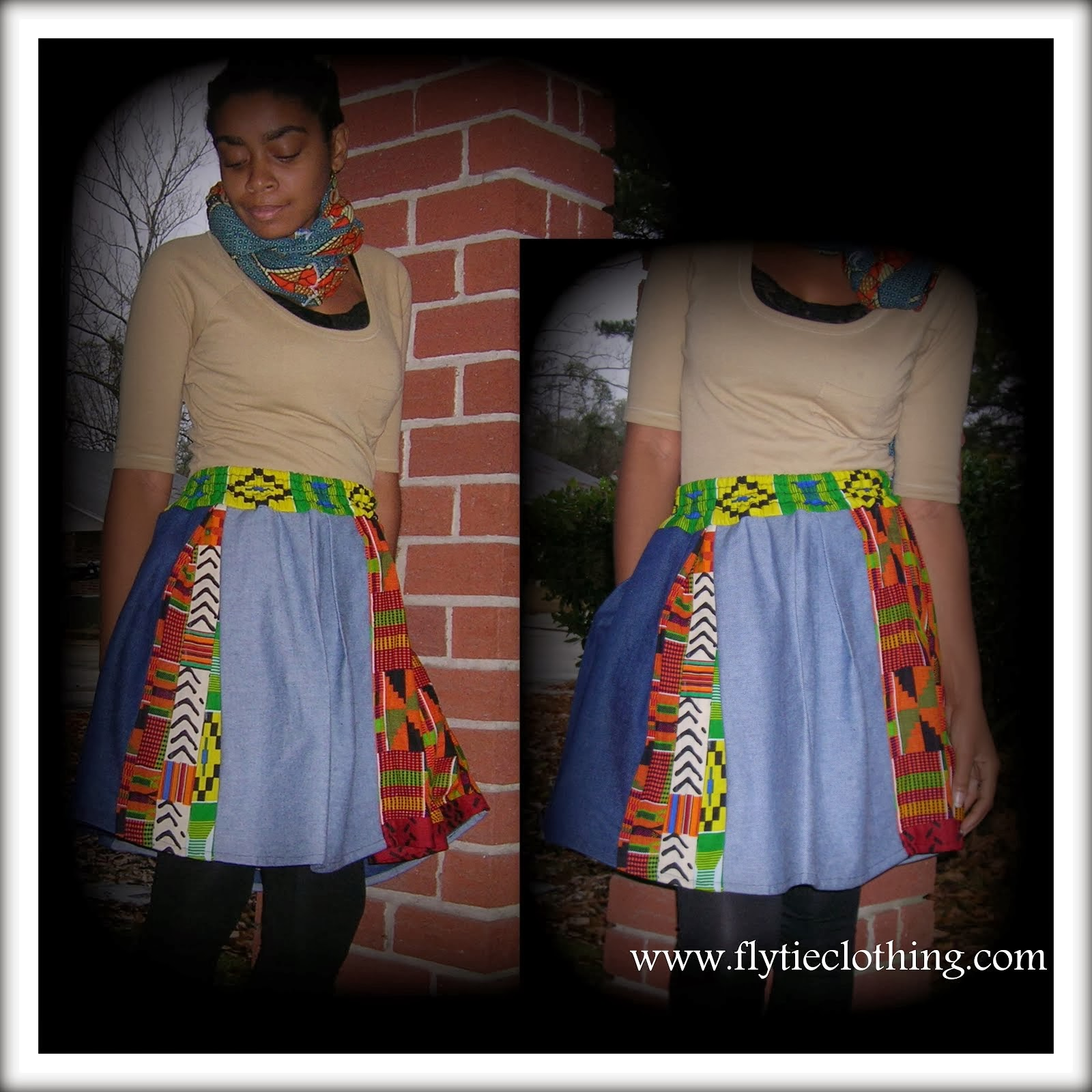 Denim/Kente Pleated Skirt