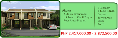 Akuna 2-Storey Townhouse 3BR 2TB w/ carport, lanai and porch Liloan House and Lot