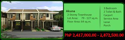 Akuna 2-Storey Townhouse 3BR 2TB w/ carport, lanai and porch Liloan House and Lot