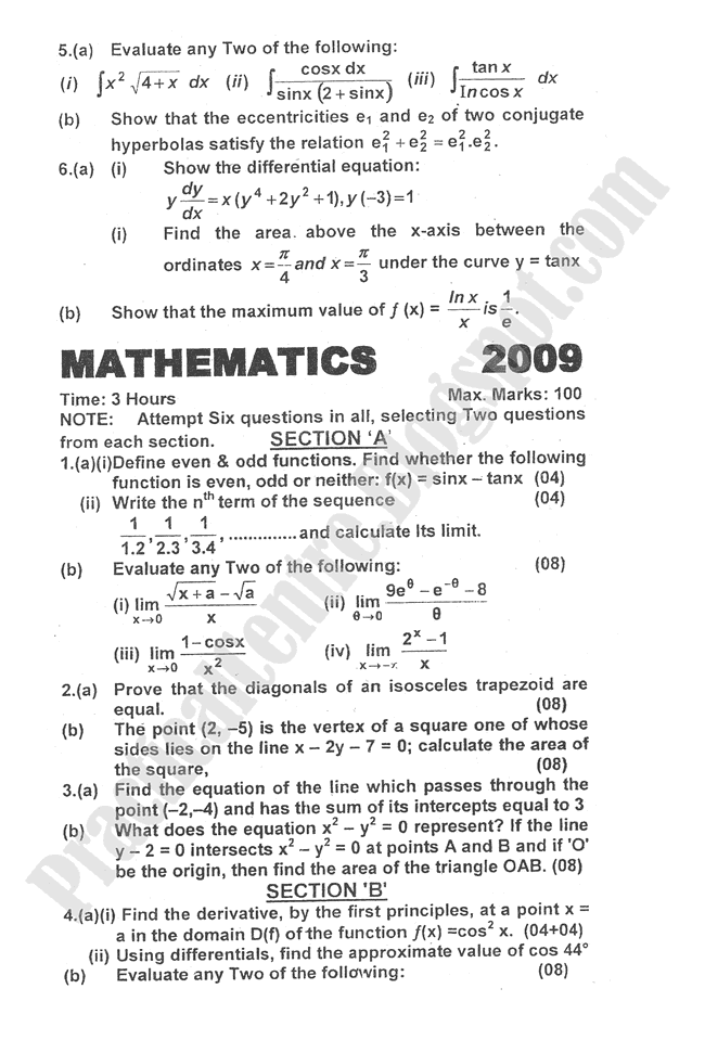 Mathematics-2009-five-year-paper-class-XII