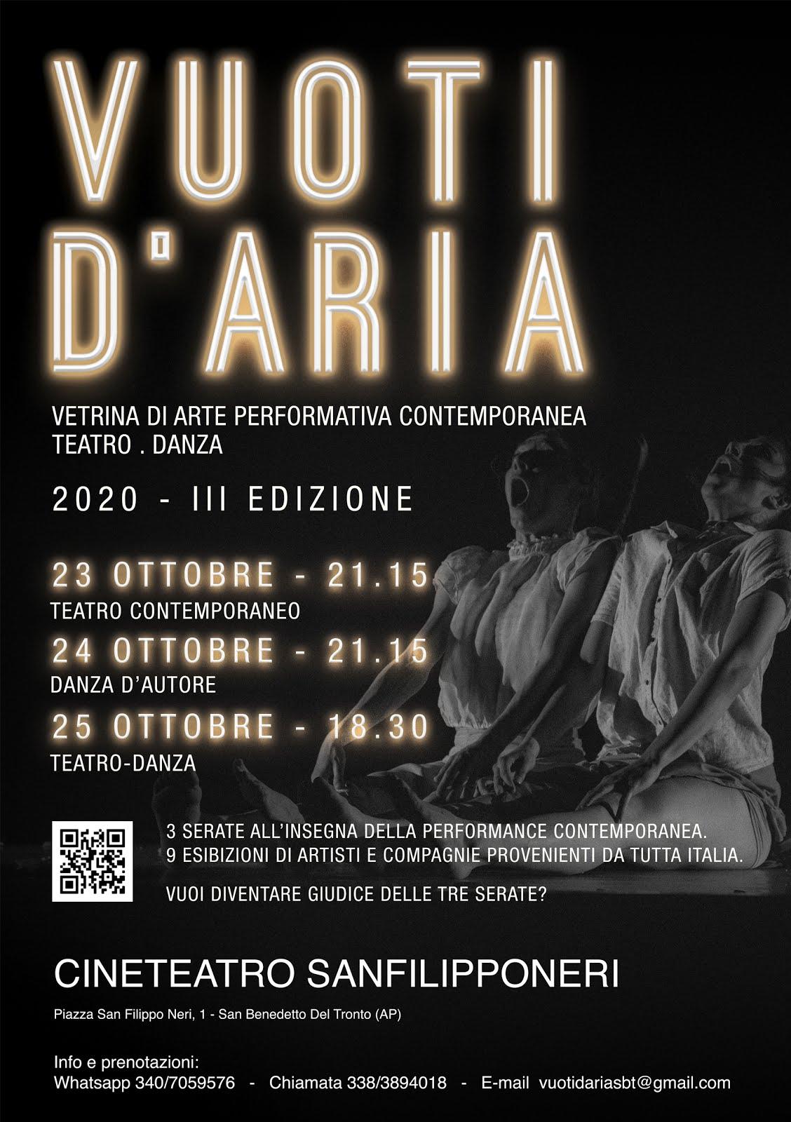"""""""VUOTI D'ARIA"""" VETRINA DI ARTE  PERFORMATIVA CONTEMPORANEA"""