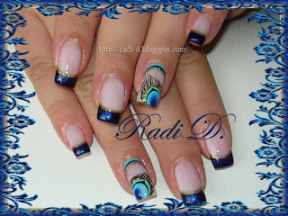 Peacock Feather nail art on french