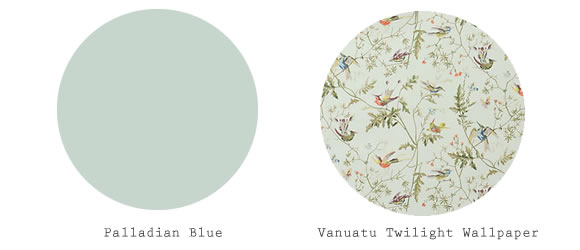 ... beautifully with swatches of the Vanuatu Twilight wallpaper from Anthropologie. This paper pattern would really work in any room of my pretend house, ...