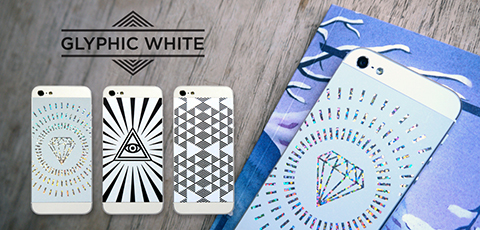 Phone Pop Glyphic White Vinyl Backs set for iPhone 5