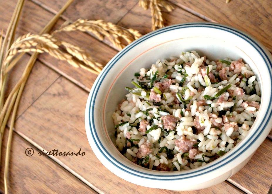 Riso alla pilota o riso e salsiccia ricetta tipica mantovana di risotto