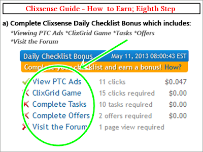 How to Earn with Clixsense Checklist
