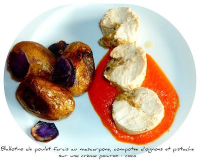 image Ballotins de poulet farcis au mascarpone, compotée d'oignon et pistache sur une crème poivron-coco