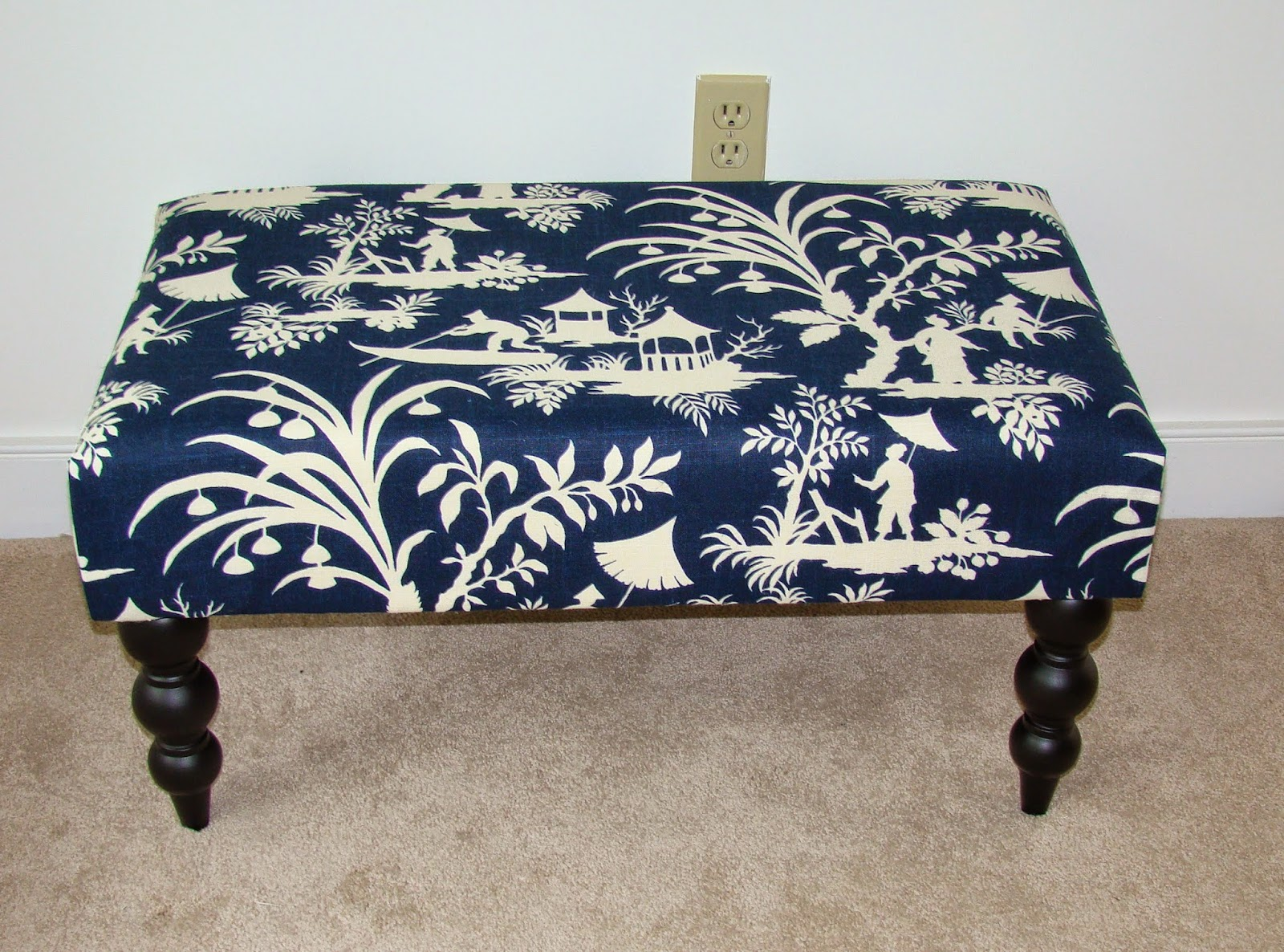 view from my heels quick project bench redo it lives in our dining room now and i decided that with the new navy walls the pagoda fabric didn t really stand out even though we also had navy walls in