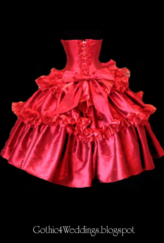Red Silk Gothic Eve Wedding Dress
