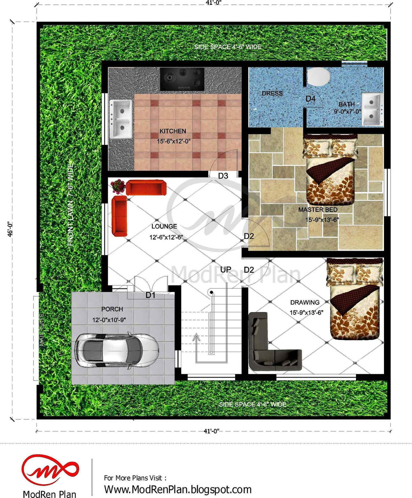 7 marla house plan 1800 sq ft 46x41 feet for 1800 sq ft house plans