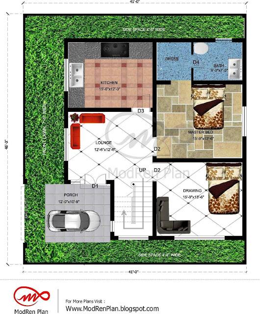 7 Marla House Plan 1800 Sq Ft 46x41 Feet