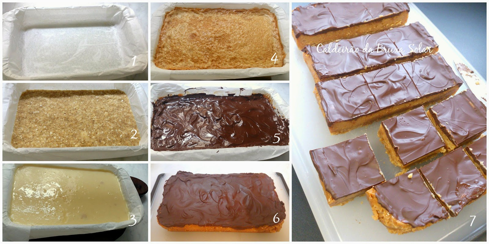 Barrinhas de caramelo, chocolate e coco