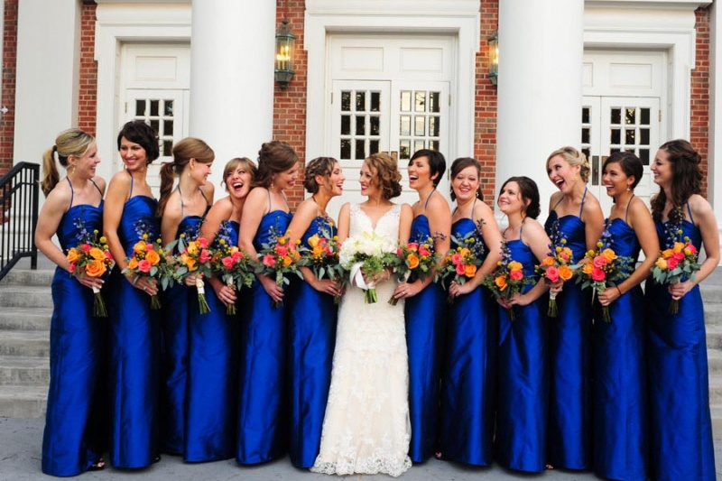 Wedding dress with royal blue color