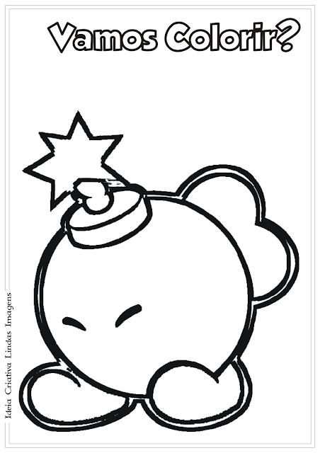 Super Mario - Bomba (Bob-Omb) desenho para coo