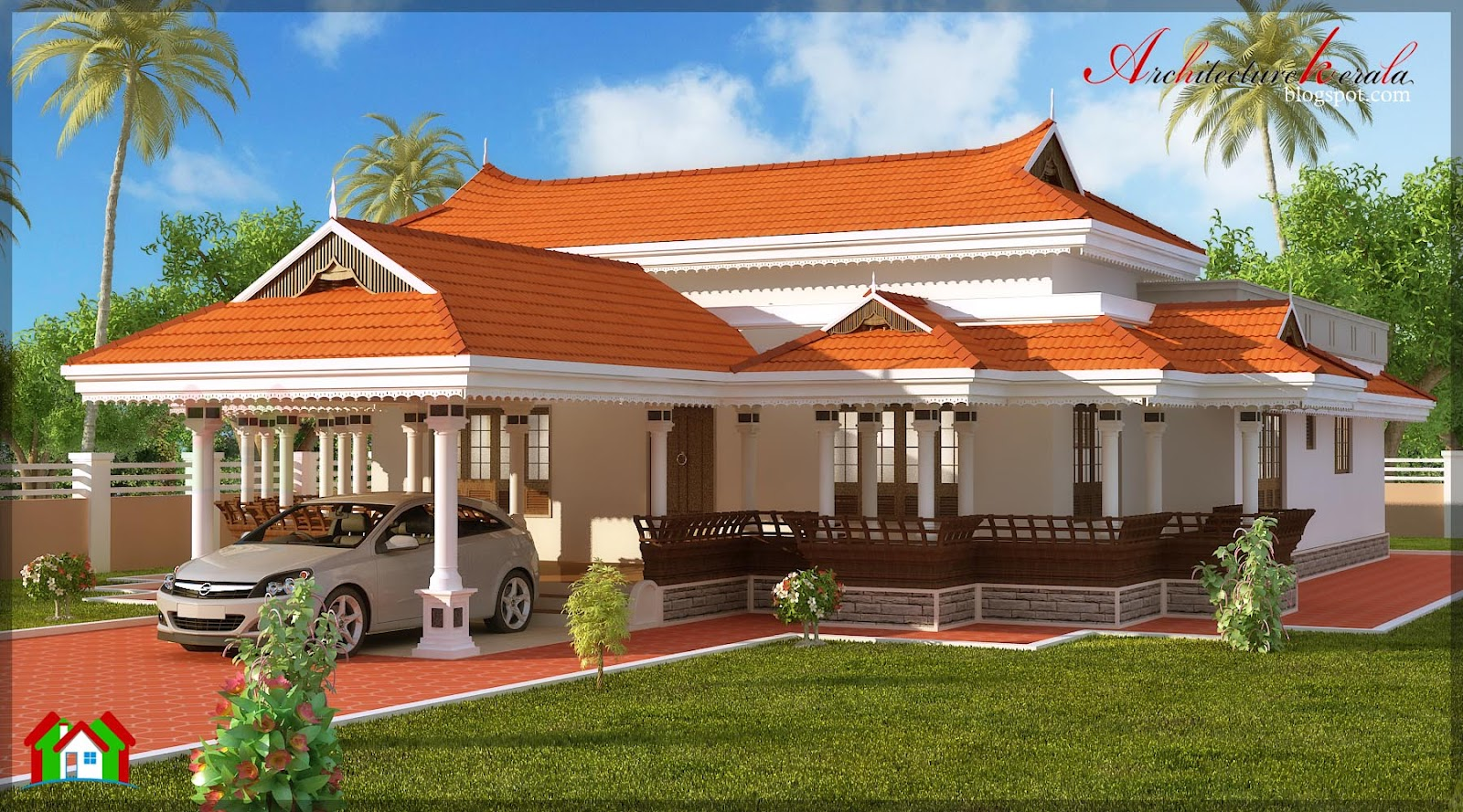 Architecture kerala 3 bhk in single floor house elevation for Single floor 4 bedroom house plans kerala