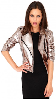 Sarah Harding, Girls Aloud, Missguided, Biker Jacket, Look Magazine, Metallic, Rose Gold