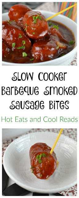 A great appetizer for any holiday celebration or party! The homemade sauce is packed full of flavor and it goes great with the sausage! Slow Cooker Balsamic Barbeque Smoked Sausage Bites Recipe from Hot Eats and Cool Reads