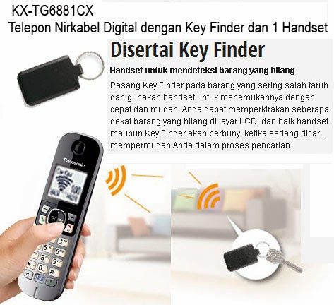 Telepon Wireless dengan Key Finder KX-TG6881