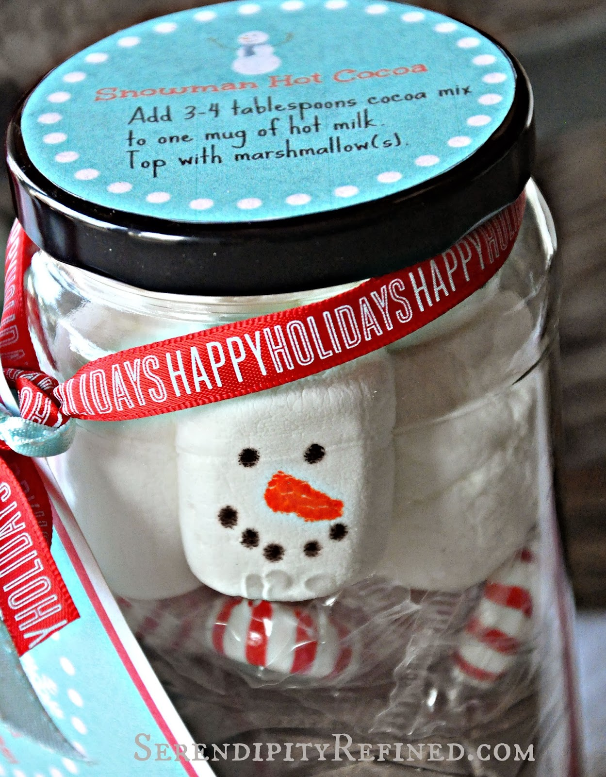 Homemade christmas gift ideas stacked jar hot chocolate snowman