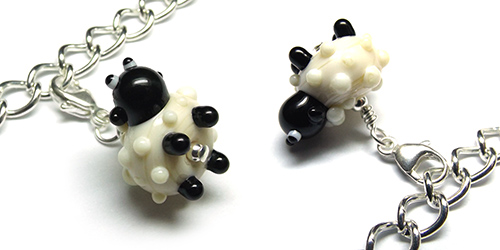 Lampwork glass sheep bead charm by Laura Sparling