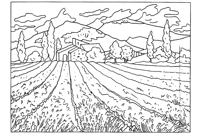 Image of an agricultural field in front of a house surrounded by trees and higher generations