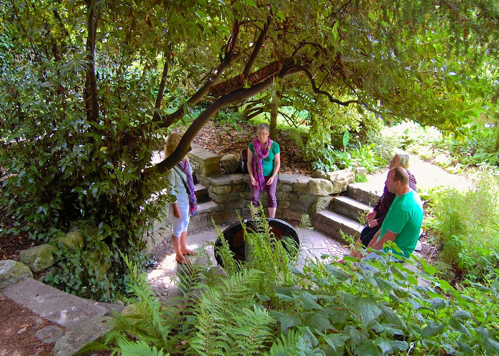 Meditating seekers at the Chalice Well