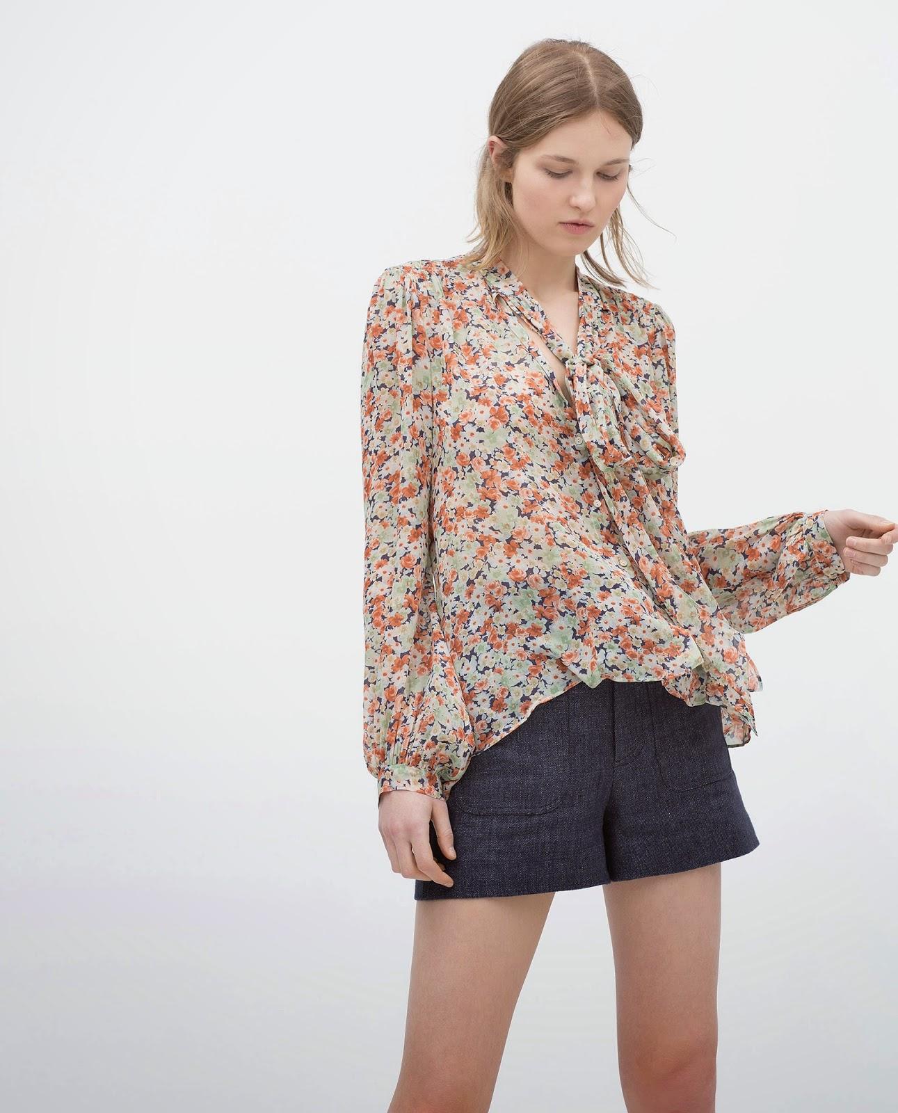 zara floral tie blouse