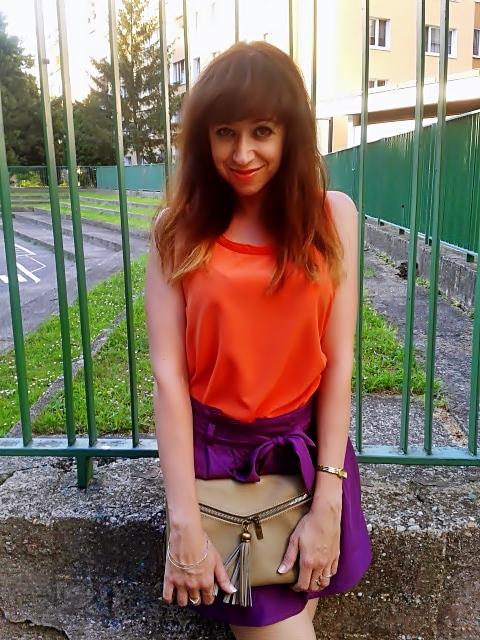 Svetový rekord_Katharine-fashion is beautiful_Oranžový top_Fialové šortky