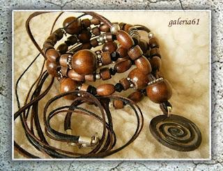 naszyjnik - wisiorek i bransoletka w stylu etno