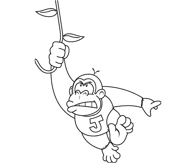 Free coloring pages of baby donkey kong for Diddy kong coloring pages