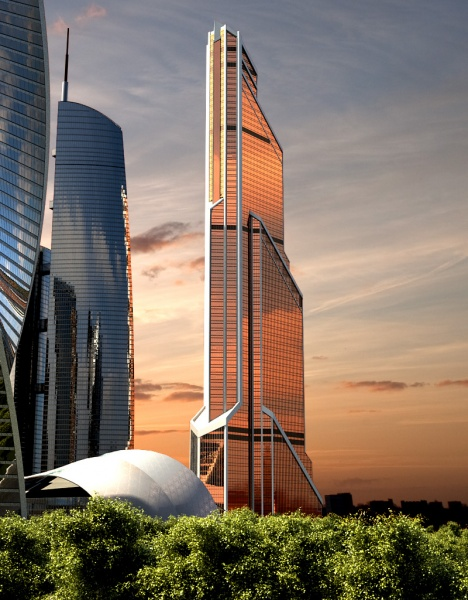 Photo of Mercury City Tower at sunset right next to other Moscow skyscraper