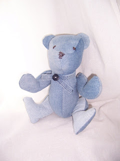 denim teddy bear upcycled handmade by BlueBarnHillCraftsIN