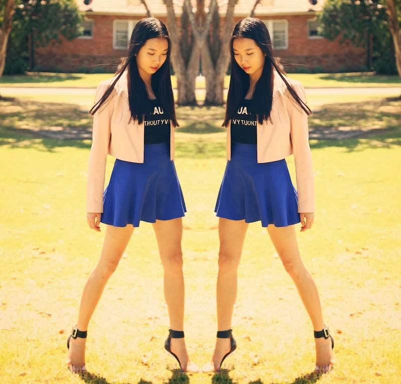 alannah hill, Hello Parry, cobalt, cropped leather jacket, Aint Laurent Without Yves, Jeffrey Campbell
