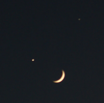 The new moon, Venus and Jupiter