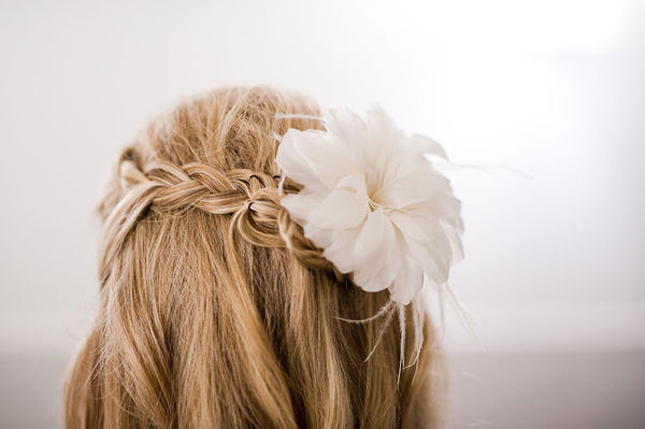 Impressive Half-Up Wedding Hair with Braid and Flowers 645 x 429 · 126 kB · jpeg