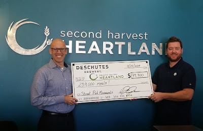 Deschutes Brewery's Derek Johnson (right) presents the donation check to Second Harvest Heartland CEO, Rob Zeaske.