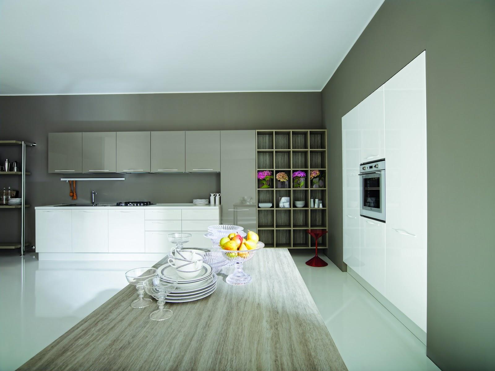 Casa e tecnologia aran cucina terra bianco tortora lucido - Cucina rovere bianco ...