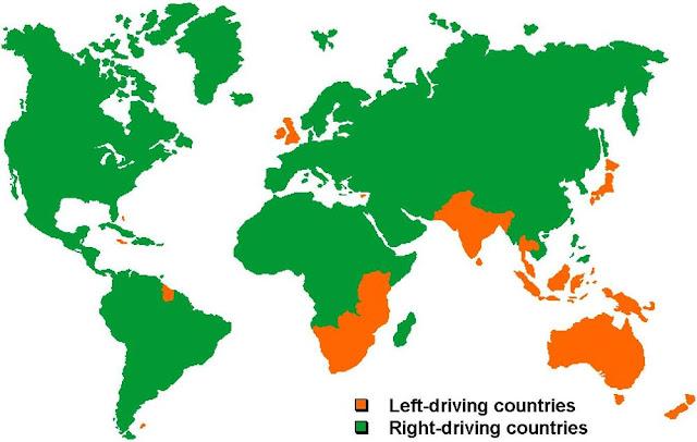 Aquí el mapa de como conducimos en el Mundo