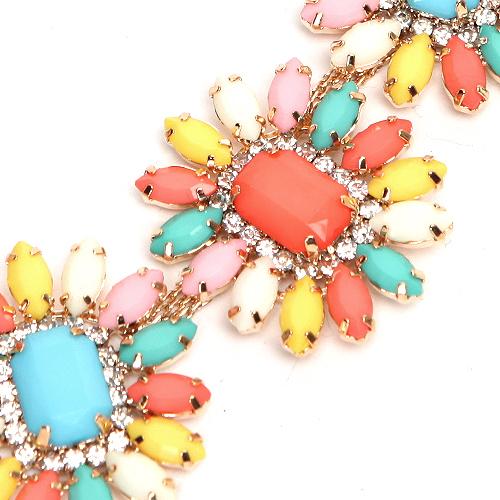 Daisy Flower Rhinestone Bib Necklace