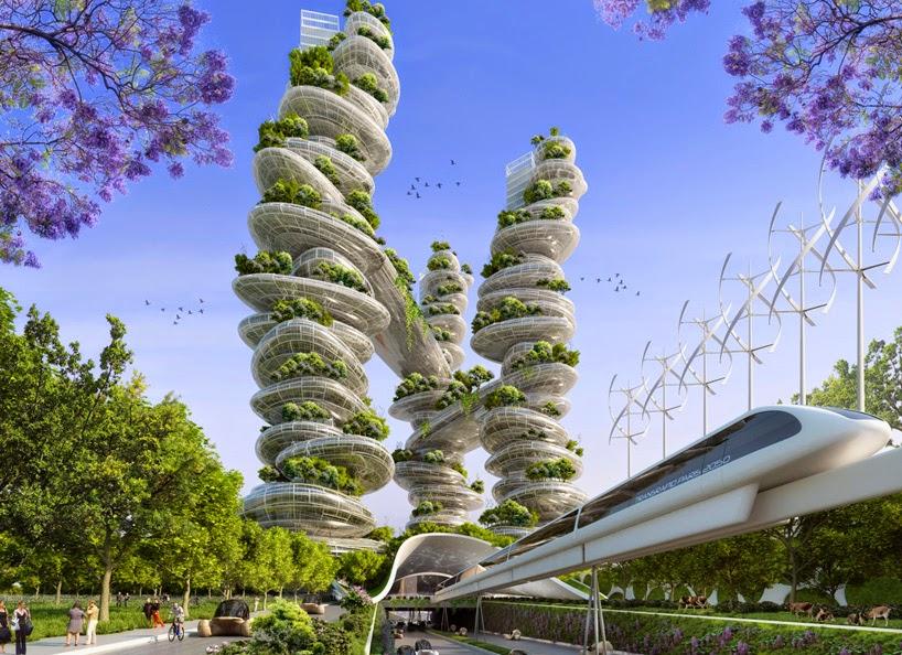 Proyecto Futurista en Paris, Ciudades Inteligentes, Edificios Verdes, Torres Farmscraper y Manglares